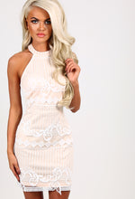 Aguilera Nude Lace Overlay Mini Dress