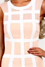 Lavinia Nude and White Grid Bodycon Dress