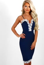 Navy Lace Trim Bodycon Midi Dress
