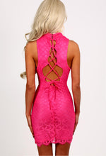 Delia Hot Pink Lace Overlay Mini Dress
