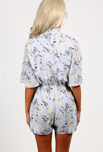 Tayla Grey Floral Print Wrap Playsuit