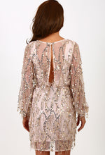 Thalia Gold Sequin Tassel Wrap Dress