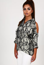 Loris Stone and Black Snake Print Cold Shoulder Shirt