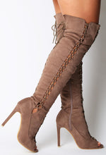 Janyce Mocha Suede Effect Knee High Boots