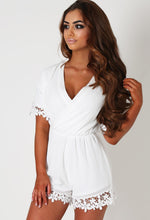 Gayle White Floral Lace Trim Wrap Playsuit