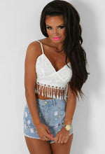 Crystabella White Bralet Top with Tassel Hem