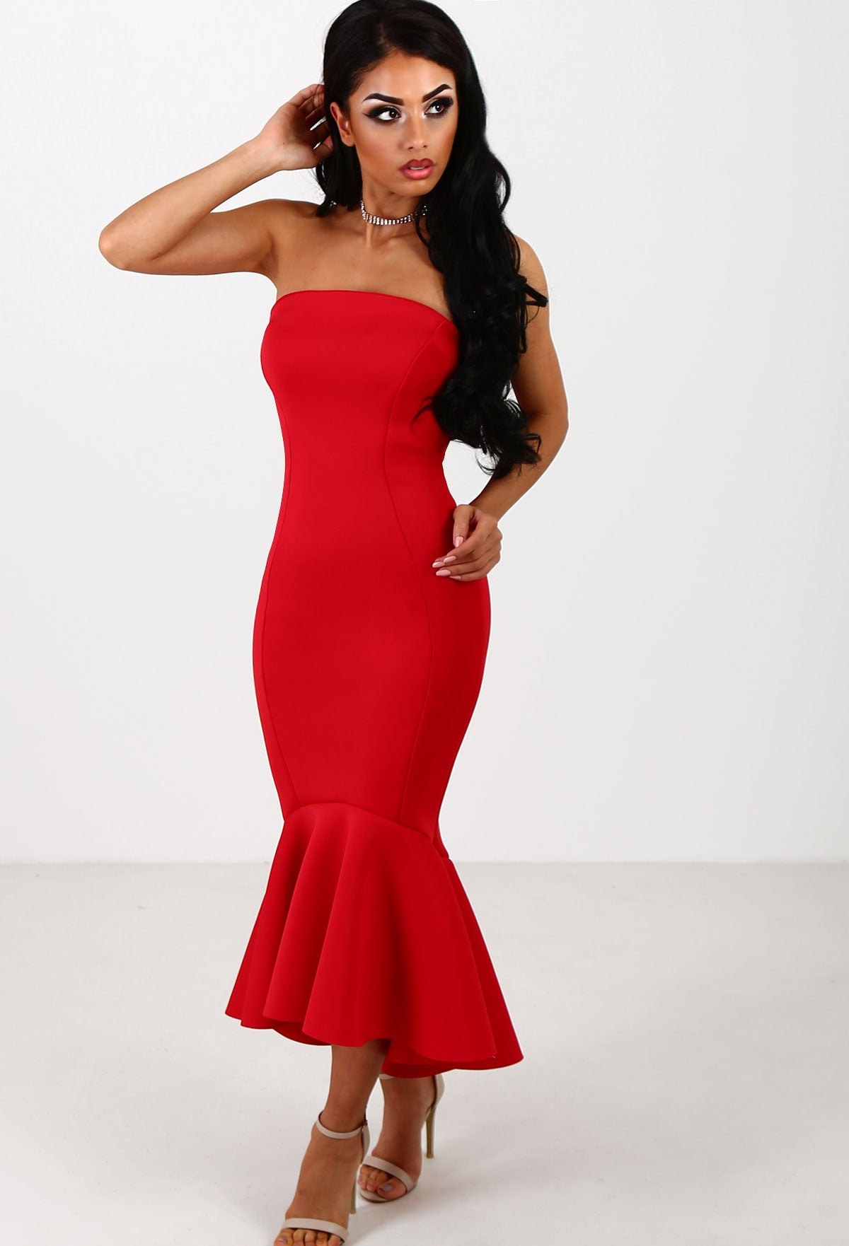 9153e536a1074 Ambition Red Bandeau Fishtail Midi Dress – Pink Boutique UK