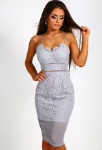 Mila Grey Lace Panelled Midi Dress