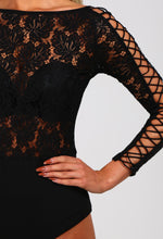 Hayleigh Black Lace Lattice Sleeve Bodysuit