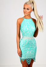 Jayne Turquoise and Nude Lace Cami Mini Dress