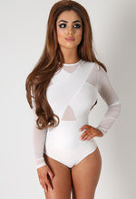 Florence White Mesh Ribbed Bodysuit