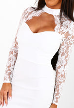 Right Lace Right Time White Lace Choker Bodycon Dress