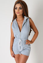Kristina Grey Jersey Hooded Playsuit