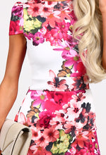 Pickney White and Floral Offset Peplum Midi Dress