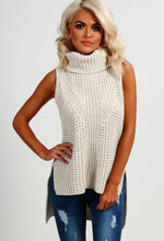 Delaney Cream Knitted Sleeveless Jumper