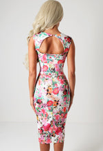 Bouquet Floral Cut Out Back Bodycon Midi Dress