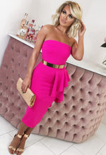 Hot Pink Strapless Peplum Midi Dress - Front with Background