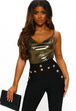 Gold Cowl Neck Cami Top - Front View