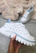 Absent Heart White Studded Chunky Trainers