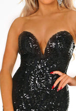 Bustier Black Sequin Dress