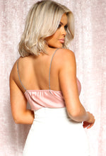 Blush Pink Satin Cowl Neck Cami