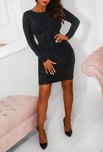 Alexa Black Stretch Lurex Cowl Back Mini Dress