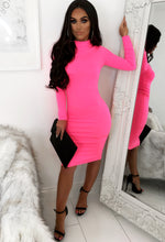 Neon Pink Long Sleeve Midi Dress - Front with Background