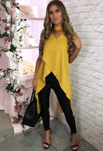 Mustard Choker Dip Hem Top - Front View With Background