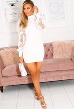 White Lace Sleeve Dress