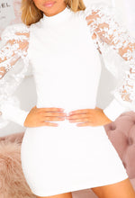 White Organza Sleeve Mini Dress
