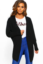 Black Chunky Knit Cardigan - Front View