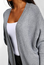 Grey Soft Knit Cardigan - Detail View
