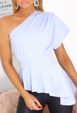 Off Shoulder Light Blue Peplum Top