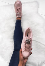 Pink Suede Lace Up Trainers