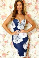 Ava Navy Floral Plunge Mini Dress