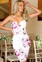 Ava Pink Floral Plunge Mini Dress
