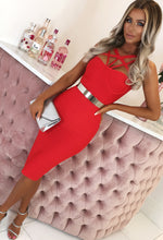 Red Cage Bandage Midi Dress - Front with Background