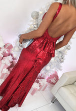 Red Sequin Fishtail Maxi Dress - Back with Background