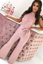 Pink Lace Wide Leg Jumpsuit - Front with Background