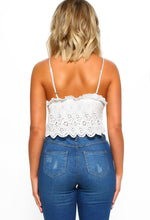White Broderie Crop Top - Back View