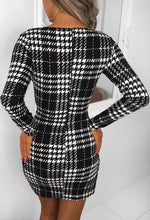 Dogtooth Printed Dress