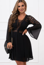 Black Flared Sleeve Beach Dress