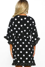 Black Polka Dot Frill Mini Dress - Back