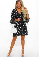 Black Polka Dot Frill Mini Dress - Front with Accessory
