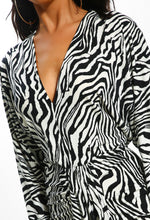 Zebra Print Wrap Midi Dress