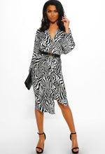 Black Zebra Print Midi Dress