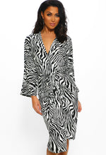 Zebra Print Wrap Dress