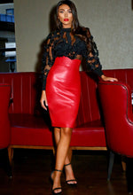 Red High Waist Leather Skirt