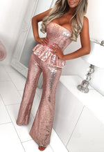 Rose Gold Peplum Sparkle Jumpsuit