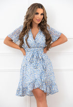 Ditsy Blue Frill Mini Dress